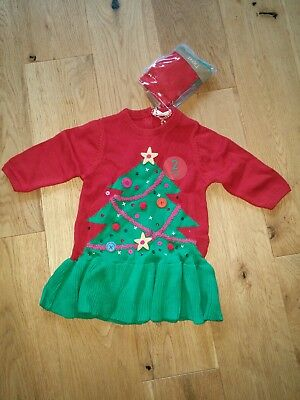 Next Christmas girls red green tree knitted dress & tights set outfit 0-3 months