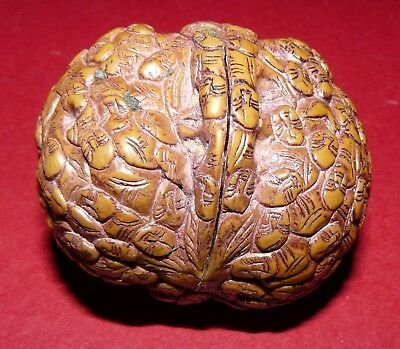 Vintage Oriental Chinese Carved Walnut Shell. Intricate Detail.