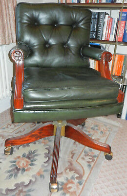 Fabulous Bevan Funnell Britannia Green Leather Swivel Desk Chair Office Study