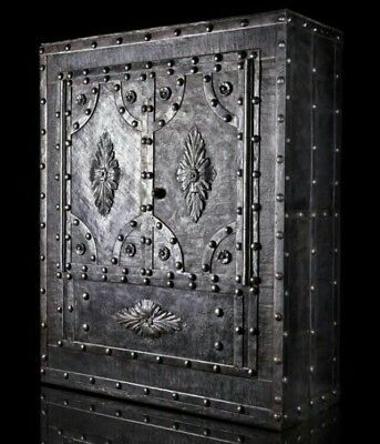 19 th. Century wrought iron hobnail safe , iron Chest