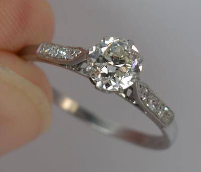 Art Deco 0.75ct Old Cut Diamond & Platinum Solitaire Engagement Ring