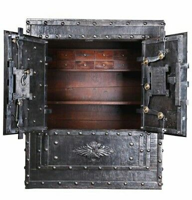1824 Italian Antique Safe , strongbox , iron Chester , key