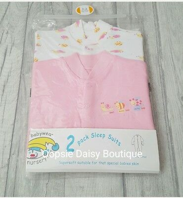 Baby Girls 2 Pack Sleepsuits Sizes From Newborn upto 18 Months ☆