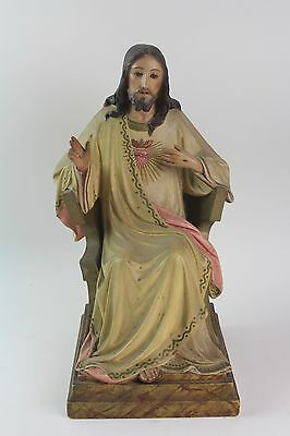 * Image Of The Sacred Heart In Polychromed Stucco. Xix Century.