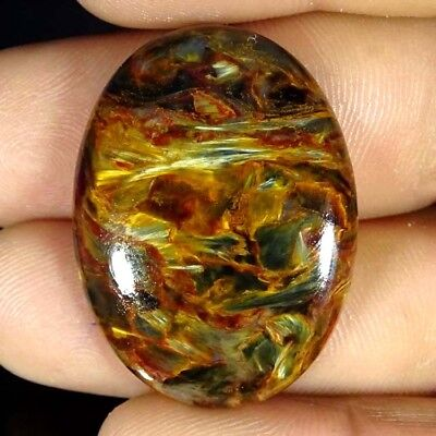 38.40Cts 100%NATURAL DESIGNER GOLDEN PIETERSITE OVAL CABOCHON UNTREATED GEMSTONE
