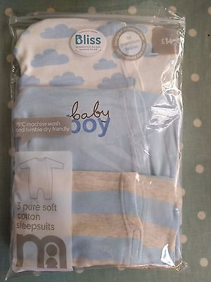 Mothercare Premature Baby Boy Cotton Sleepsuits x 3 Brand New In Pack