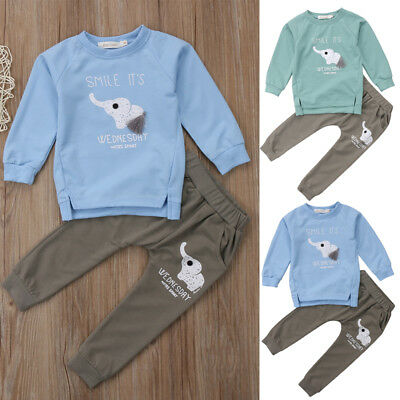 2PCS Newborn Baby Boy Girls Clothes Romper Bodysuit Tops+Jeans Pants Outfits Set