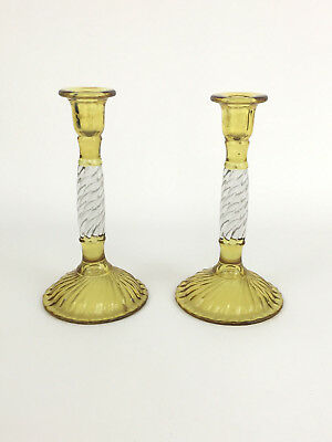 Antique clear & amber pressed glass candle holders 1900's