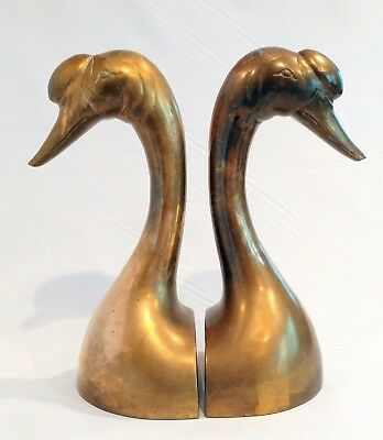 Large Matching Pair Of Vintage Brass Chinese Goose Head Bookends