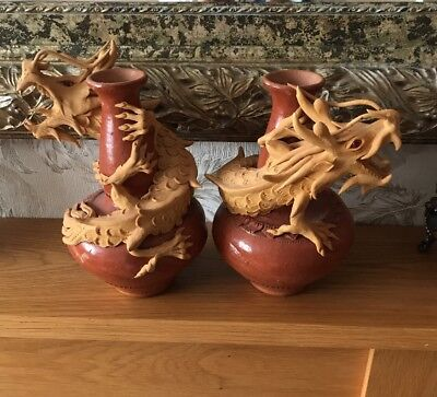X2 Terracotta Vases With Chinese Climbing Dragons