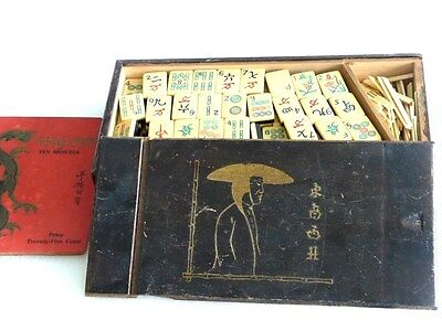 Antique vintage 1923 Chinese Pyralin Mahjong tiles 144 complete set w rule book