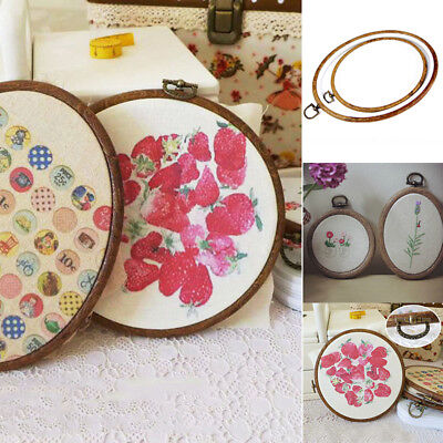 Embroidery Round Oval Wooden Cross Stitch Ring Hoop Frame Sewing Craft Tools 1Pc