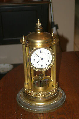 Large Antique German? Anniversary Clock Glass Dome