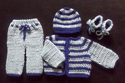 crochet Blue baby boy pants sweater booties and hat handmade 3-6 Months