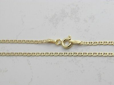 18K Gold Over 925 Sterling Silver 2mm Mariner Anchor Chain Necklace