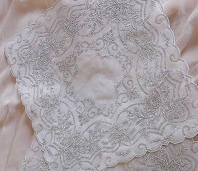 Amazing Hand-Embroidered Vintage Handkerchief - Seed Stitch Fillings - Perfect!