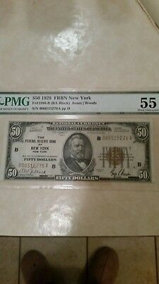 1929 $50 Federal Reserve Bank Of New York  Pmg 55 Epq Please Lqqk!!*