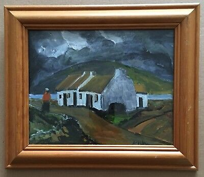 Original Irish Art Oil On Board Painting Irish Cottage In Landscape By Browne
