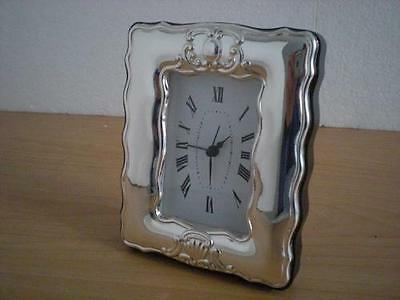 SOLID STERLING SILVER TABLE ALARM CLOCK 6×9 *1004 GB new