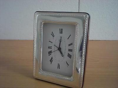 SOLID STERLING SILVER TABLE ALARM CLOCK 9×13*1011GB new