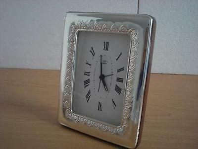 SOLID STERLING SILVER TABLE ALARM CLOCK 9×13*1015GB new