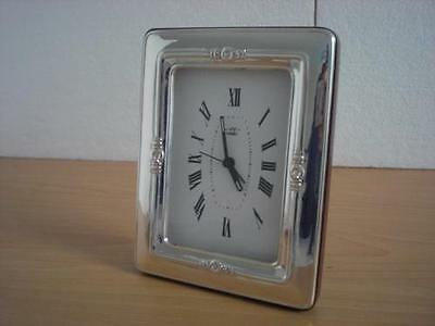 SOLID STERLING SILVER TABLE ALARM CLOCK 6×9 *1014GB new