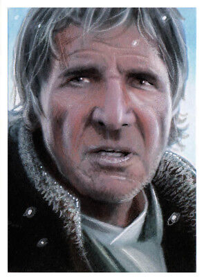 Starwars The Force Awakens The Last Jedi Han Solo Original Art Sketch Card