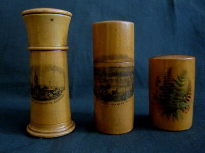 3 Antique Mauchline Ware Cylindrical Boxes With Lids