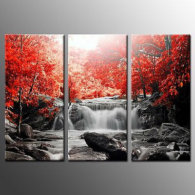 FRAMED Canvas Print Landscape Red Trees Waterfall Wall Art Painting Print-3pcs