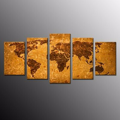 5 Panels Vintage World Map Painting Canvas Prints Art for Wall Home Decor