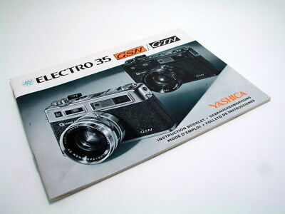 Yashica Instruction Booklet Manual for Electro 35 GSN or GTN 35mm Film Camera