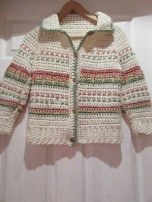 "Handcrafted Girls Cardigan, Cream/pattern, Size 32"" Chest.  Vintage, New"