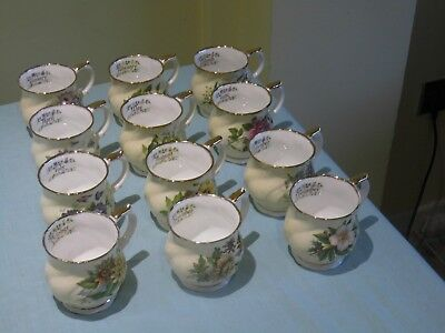 "Queens China, Full Set (12) "" Day of the month Coffee Beakers"""