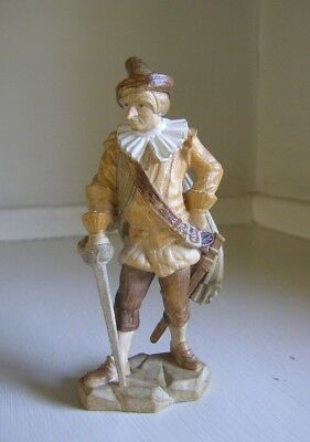 ANRI LEPI Black Forest Man with a Sword Carved Wood Figurine Musketeer Cyrano