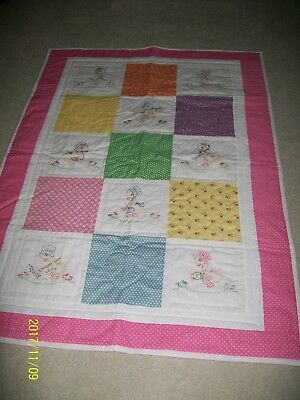 """Hand Quilted And Hand Embroidered """"miss Duck"""" Child's Quilt"""
