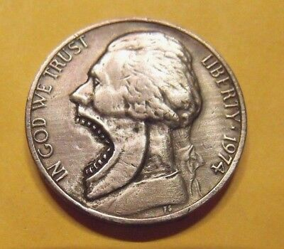 Hand Carved  Hobo nickel Big Mouth Jeff Rough Back