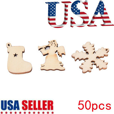 50X Handmade With Christmas Decoration Snow Bell Wood 30mm DIY Craft PL