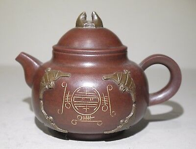 Chinese Yixing Teapot, decorated with Bats and bat handle