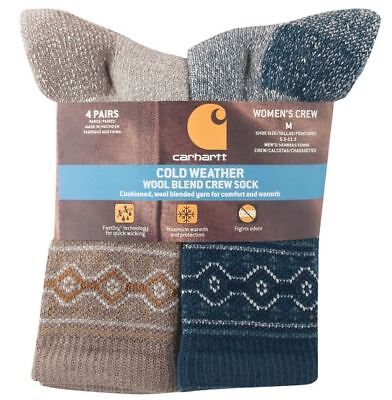 CARHARTT Women's COLD WEATHER Wool Blend Crew Sock 4-Pack NWT