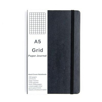 Grid Paper Journal Notebook Medium A5 Hardcover, 192 Pages Bullet Journal, Black