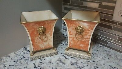 Pair of Vintage Italian Tole Planters Cachepots with Lion Handles & Claw Feet