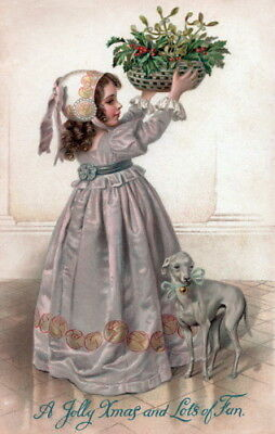 Antique Christmas Art~Young Girl~Mistletoe~Italian Greyhound Dog~ NEW Note Cards