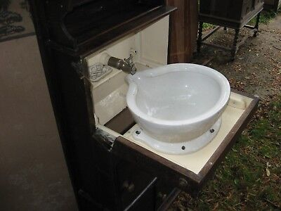 Antique Washstand with Hidden Sink, Tap and Water Tanks, dark varnished wood