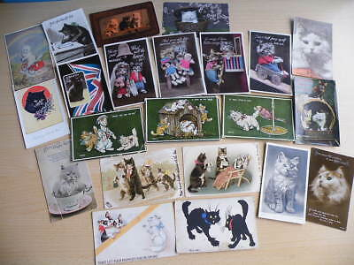 22 vintage Postcards featuring CATS including Bas Relief & Faulkner