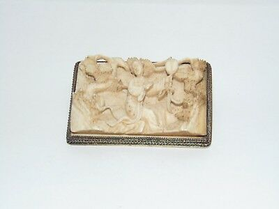 ANTIQUE VINTAGE ORIENTAL CHINESE SILVER FRAMED CARVED RELIEF BROOCH with FIGURES