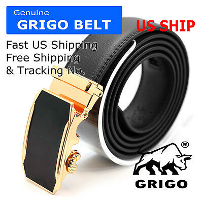 Man Fashion Genuine Leather Mens Automatic Click Buckle Waist Comfort Strap Belt