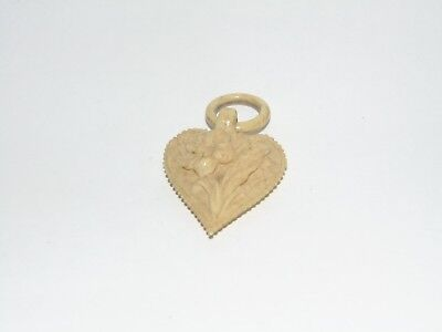 SWEET ANTIQUE CARVED HEART with FLOWERS in RELIEF DIEPPE HEART PENDANT