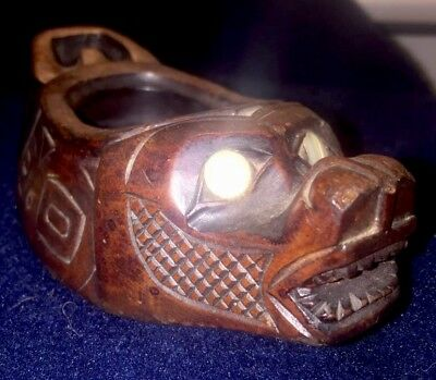 Rare Antique NW Coast Haida Indian Potlatch Wolf Seal Bowl Shell Inlay 19th CEN