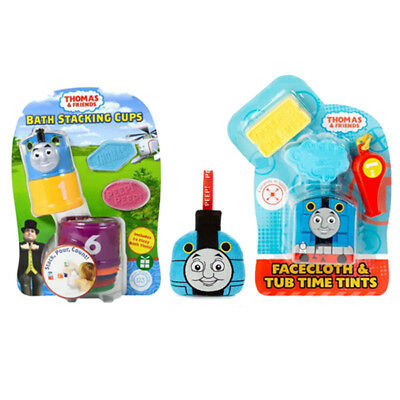 New Thomas The Tank Bath Stacking Cups With Sponge & Magic Face Cloth Bundle