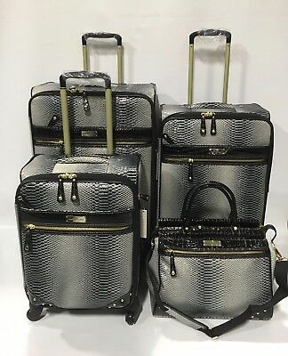 New Samantha Brown Black White Ombre 4Pc Spinner Luggage Set Expandable
